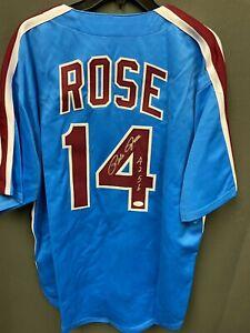 "Pete Rose ""4256"" Signed Phillies Baseball Jersey Autographed AUTO JSA COA Sz XL"