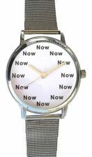 """NOW"" Is The Time On The Large Size Watch With White Dial & S.S. Mesh Band"