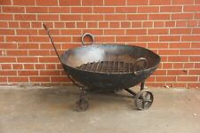 New listing Vintage Fire Pit on Wheels, Rustic Metal Bowl, Kadai Bowl Primitive