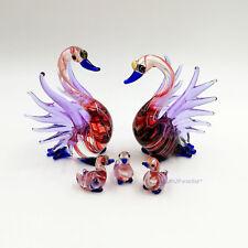 5 Red Blue Swan Figurine Hand Blown Clear Beautiful Swirl Color Glass Animal Art