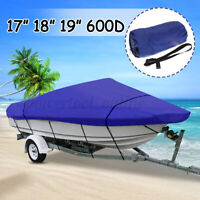 17-19ft Marine Blue Extra Heavy Duty Boat Speedboat Cover Waterproof V-Hull 210D