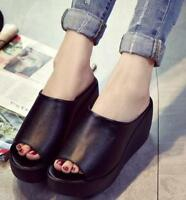 Womens High Platform Slippers Wedge Heels Sandals OpenToe Shoes Mules Casual SZ