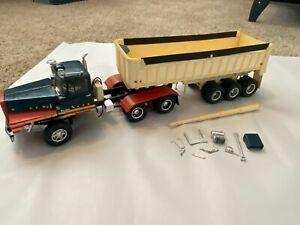 Vintage MPC Mack DM 800 Tractor Truck & Tri Axle Gravel Trailer Model Kit Built