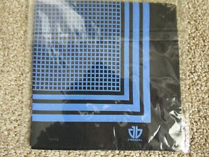 NEW J.BENZAL BLACK & ROYAL BLUE STRIPED & GRIDDED POCKET SQUARE-100% SILK