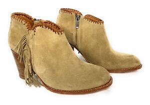 "Ariat Boots 9 Tan Suede Ankle Fringe Side Zip Soria byTwo 24 Spain 3"" Heels $375"