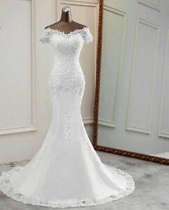 UK White Ivory off Shoulder Mermaid Beaded Lace Beach Wedding Dresses Size 6-18