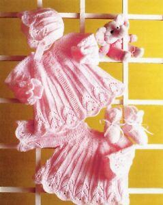 Baby DK Knitting Pattern Matinee Cardigan Set  Sizes 18- 22  inches #13