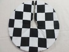 "13"" Christmas Tree Skirt Table check black & white flag Custom made 4u"