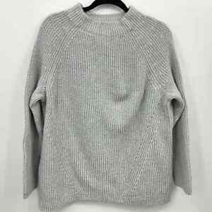 Lands Ends Sweater Plus Size 1X 16W 18W Gray Ribbed Cable Knit