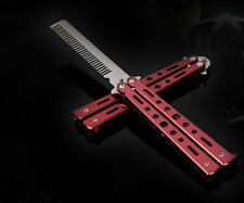Red Metal Practice Balisong Butterfly Comb Knifes Trainer Tool Toy K012-6