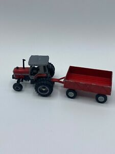 Small Toy Red Tracker With Metal Tootsietoy Farm Trailer