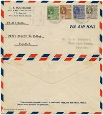 BRITISH GUIANA 1929 FIRST FLIGHT FAM6 SOUTHARD PRINTED AIRMAIL ENV to FLORIDA