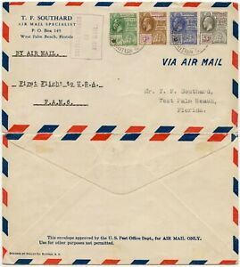 BRITISH GUIANA 1929 FIRST FLIGHT FAM6 SOUTHARD PRINTED AIRMAIL ENV to FLORIDA