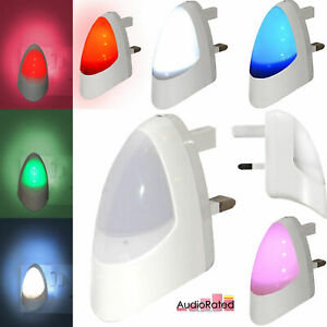Plug In LED Night Light Automatic Dusk Dawn Sleep Safety Stairs Toilet Landing
