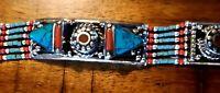 """925 Sterling Silver Turquoise Coral 40 gram  Western BOHO BOLD  Bracelet 7.5"""""""