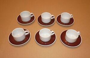 Villeroy & Boch - 6 x Set Espressotasse Mokkatasse mit Untertasse - weiß braun