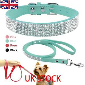 Bling Rhinestone Pet Dog Collars and Leads Leash for Small Medium Dog Puppy XS-L