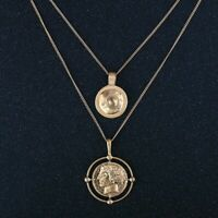 Carved Coin Pendant Choker Necklace Double Layer Chain Women Jewelry Gold Color