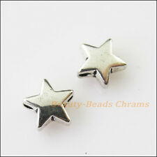 20Pcs Antiqued Silver Tone Tiny Smooth Star Spacer Beads Charms 7.5mm