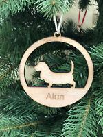 Personalised Wooden Dog Shape Merry Christmas Decoration Ornament Xmas Wood UK