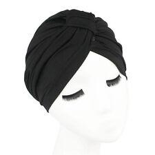 Indian Stretchable Chemo Pleated Turban Hat Head Wrap Hijab Cap Women Fashion