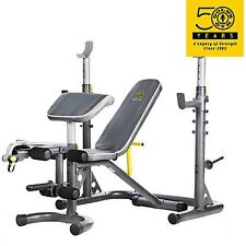 Gold's Gym XRS 20 Olympic Utility Bench Weight Home Gym Total Body Workout Set