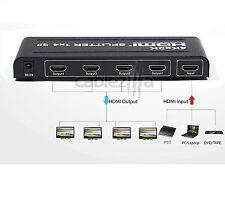 4K Full HD 1x4 Port HDMI Splitter Repeater Hub Amplifier Box 3D 1 input 4 output