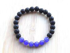 "Volcanic Lava & Mexican Opal Diffuser Semi Precious Gem 7.5"" Stretchy Bracelet"