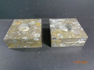 2 Brown Marble Fossil Stone Marble Onyx Candle Holders heavy almost 1kg Each