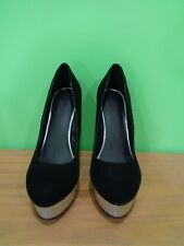 FOREVER 21 Size 8.5 Stiletto Black Velvet  Platform Ladies Shoes heel 5 & up