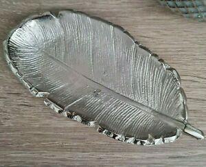 Silver Aluminium Feather Shaped Trinket Dish Jewellery 12.5cm