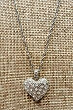 """Necklace w/ 17"""" Chain A5) Chicos Silver-tone Crystal Heart"""