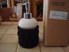 Distributeur de savon liquide porcelaine blanche avec support tressé-BECQUET-