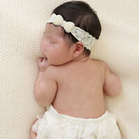 Baby Girl Elastic Lace Pearl Bow Headband Hair Band Newborn Photo Prop HME