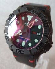 "SEIKO SKX007 Mod ""The Red and The Black"" v2 NH36A leather strap new condition"
