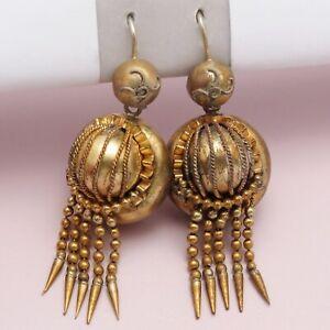 Antique Victorian Etruscan Revival Gold Gilt Tassel Dangle Drop Pendant Earrings