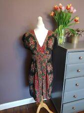 Warehouse 100% Silk Boho Dress Size 12 Short sleeves Wrap over V neck RRP £65