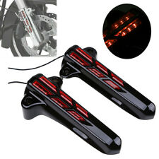Red LED Front Fork Lower Leg Cover Fit for Harley Touring Street Glide 14-19