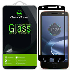2X Motorola Moto Z Force Droid Tempered Glass Full Cover Screen Protector BLACK
