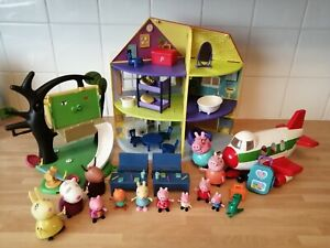 Peppa Pig Bundle Deluxe House Treehouse Airplane School Classroom & Figures