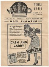 Metro Cinema Bombay India 1942 flyer Ann Sothern in Cash & Carry