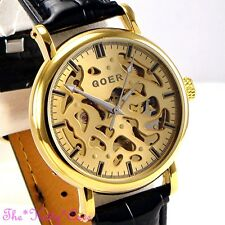 Skeleton Steampunk Automatic Mechanical Gold Pl Black Leather Gents Unisex Watch