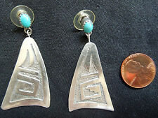 Sterling & Turquoise EARRINGS*Polished & Textured*Vintage SOUTHWESTERN*Free Ship