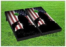 Custom Cornhole Boards BEANBAG TOSS GAME Solider Saluting Flag w Bags Set 361