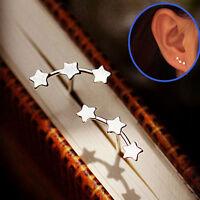 NEU Damen Sterne Silber Plated Ohrstecker Ohrringe Ohrschmuck Triple Stern Gifts