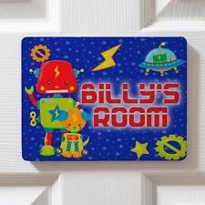 Personalised Cute Robots Boy Children's Bedroom Door Kids Name Sign Plaque DPE35