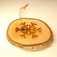 Log Slice Christmas Tree Decoration, Snowflake, Hanging Wooden Ornament.