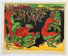 1955 René-Jean CLOT Lithographie originale rehaussée couleur 1/200 L'Enfer