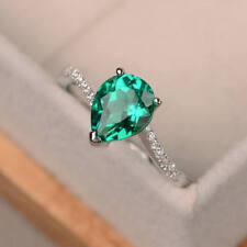 1.70 Ct Natural Diamond Pear Emerald Wedding Ring 14K Solid White Gold Size M N