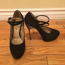 ALDO Size 37.5 Black Suede Closed Toe High Heel Mary Janes with Platform by ALDO